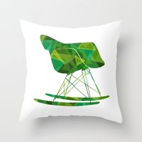 eames Throw Pillows featuring Eames Rocker by Ruby