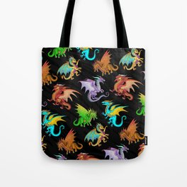 Colorful Rainbow Dragons School Tote Bag