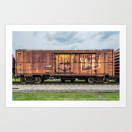 Rusting Railroad Boxcar Rusted Railway Train  Art Print