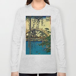 Hiroshige View Of Bridge Over Water Long Sleeve T-shirt