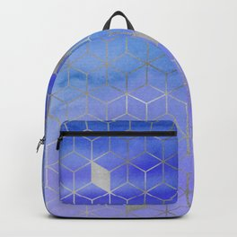 Silver Foil and Blue Watercolor Abstract Geometric iPhone Case & Cover Backpack