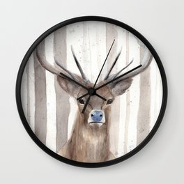 Deer in Winter Forest Wall Clock