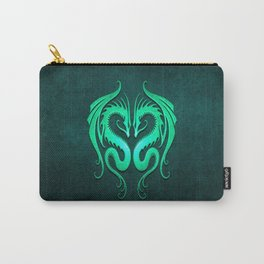 Teal Blue Twin Tribal Dragons Carry-All Pouch