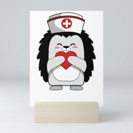 Lovely Hedgehog Nurse International Nurse Day T-Shirt Mini Art Print