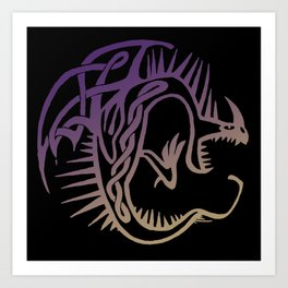 Deadly Nadder Purple and Gold Art Print