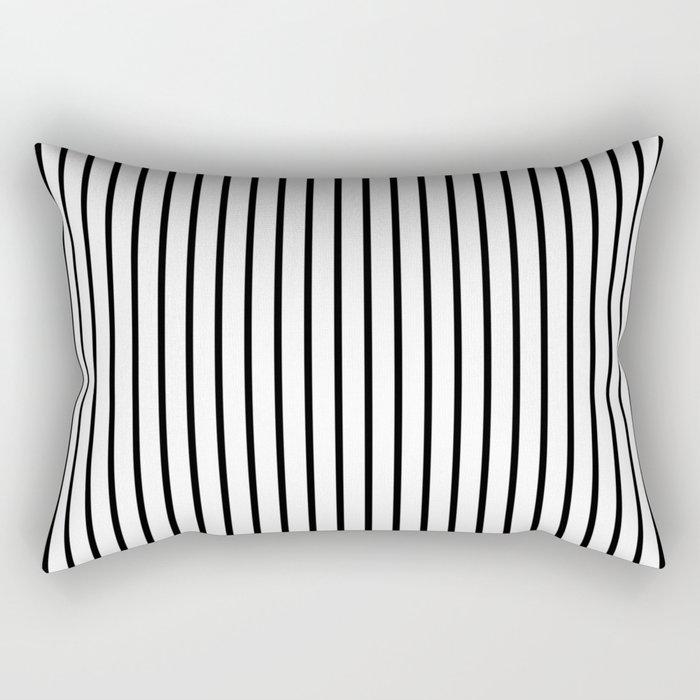 Black Pinstripe On White Pattern Rectangular Pillow