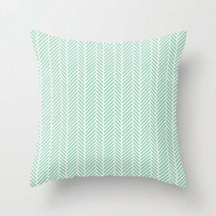 Herringbone Mint Inverse Throw Pillow