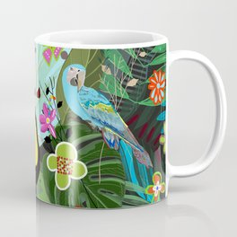 Parrots, Toucan and Flamingo Tropical Birds Tropical Forest Pattern Coffee Mug