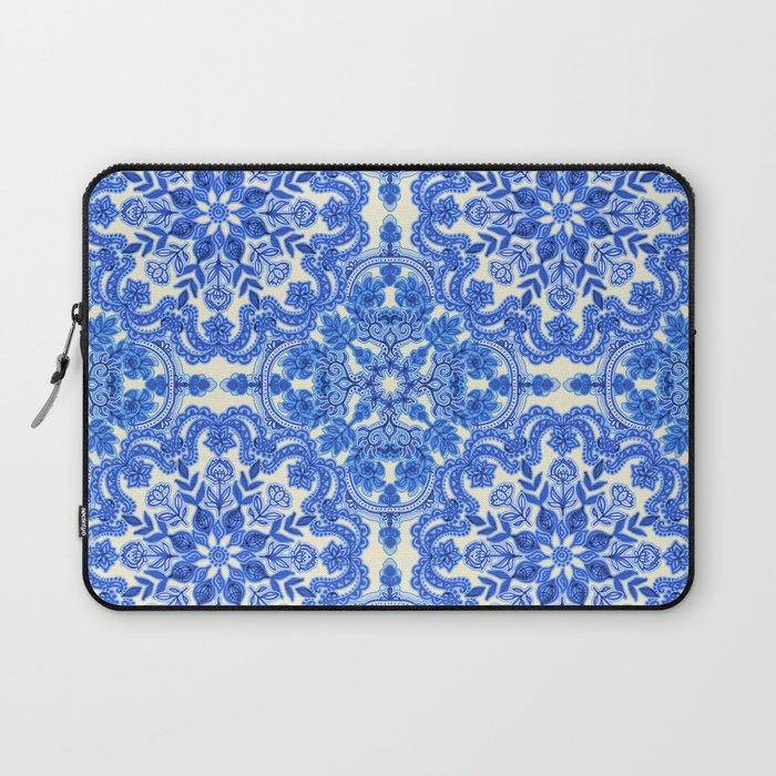 Cobalt Blue & China White Folk Art Pattern Laptop Sleeve