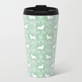 Corgi silhouette florals dog pattern mint and white minimal corgis welsh corgi pattern Travel Mug