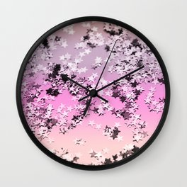 Unicorn Girls Glitter Stars #8 #shiny #decor #art #society6 Wall Clock