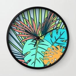 Tropical leaves blue Wall Clock