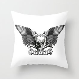 Live/Die Winged Skull Throw Pillow