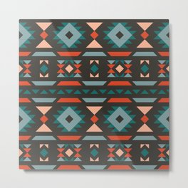 Modern Tribal Pattern Metal Print