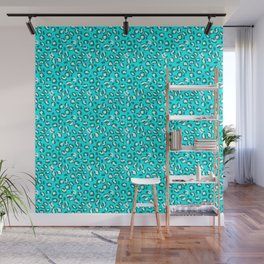 Ocean Blue and Blue Green Leopard Spot Pattern Wall Mural
