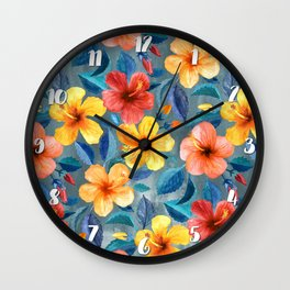 Colorful Watercolor Hibiscus on Grey Blue Wall Clock
