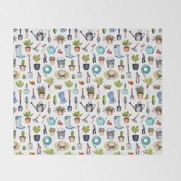 Garden Gear - Spring Gardening Pattern w/ Garden Tools & Supplies Throw Blanket