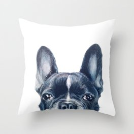 French Bull dog Dog illustration original painting print Throw Pillow