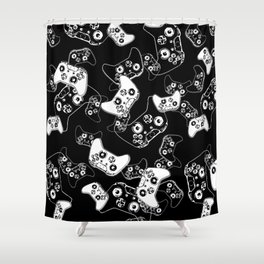 Video Game White on Black Shower Curtain