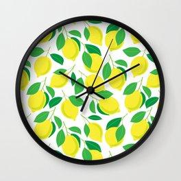 Lemons and leaves pattern Wall Clock