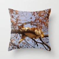 gondor Throw Pillows featuring Cat on a tree by Augustinet