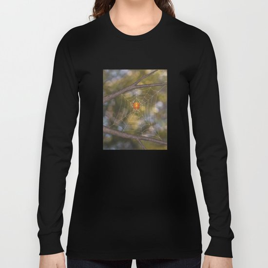 marbled orb weaver on a web Long Sleeve T-shirt