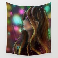 the lights Wall Tapestries featuring Lights by Hetty's Art
