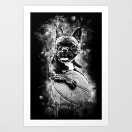 french bulldog basketball splatter watercolor black white Art Print