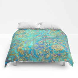 Sapphire & Jade Stained Glass Mandalas Comforters