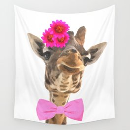 Giraffe funny animal illustration Wall Tapestry