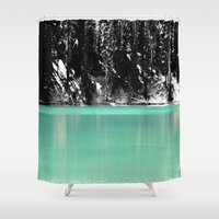 ashton irwin Shower Curtains featuring Green Water, Black and White by Jeffrey J. Irwin