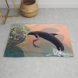 Playing and jumping dolphin Rug