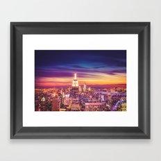 New York City Dusk Sunset Framed Art Print
