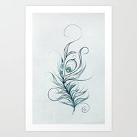 peacock feather Art Prints featuring Peacock Feather by LouJah