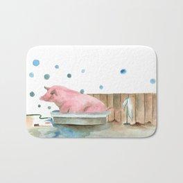 Pig bubble bath time Bath Mat