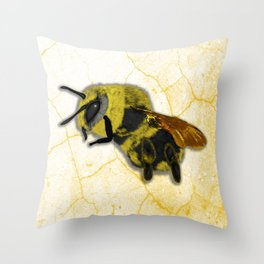 Bee on White Marble Throw Pillow