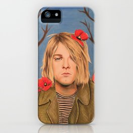 Kurt C Poppy Flower Drawing Colored Pencil Nirvana Heart shaped box iPhone Case