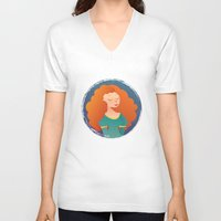 merida V-neck T-shirts featuring Merida by Chelli Reyes