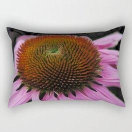 Pink Cone Flower on Black Rectangular Pillow