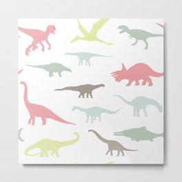 Colorful cute dinosauruses Metal Print