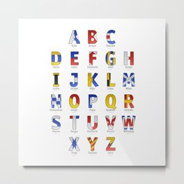 Navy Alphabet Letter - Leather Metal Print