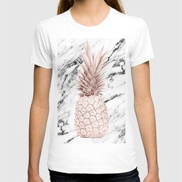 Rose Gold Pineapple on Black and White Marble T-shirt