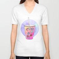 drink V-neck T-shirts featuring Summer Drink by Sara Eshak