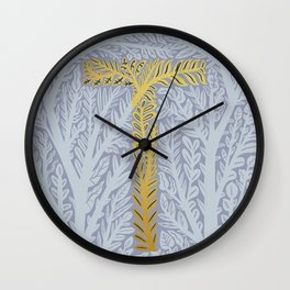 Botanical Metallic Monogram - Letter T Wall Clock