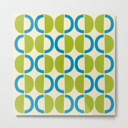 Mid Century Modern Half Circle Pattern 526 Olive Green and Cyan Metal Print