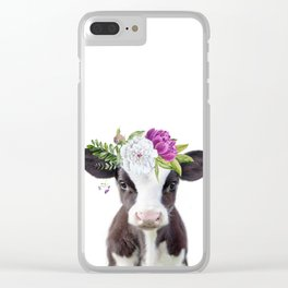 Baby Cow with Flower Crown Clear iPhone Case