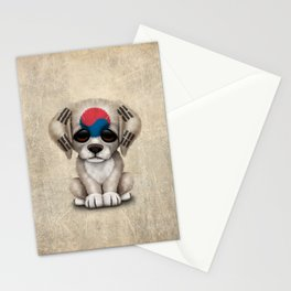 Cute Puppy Dog with flag of South Korea Stationery Cards