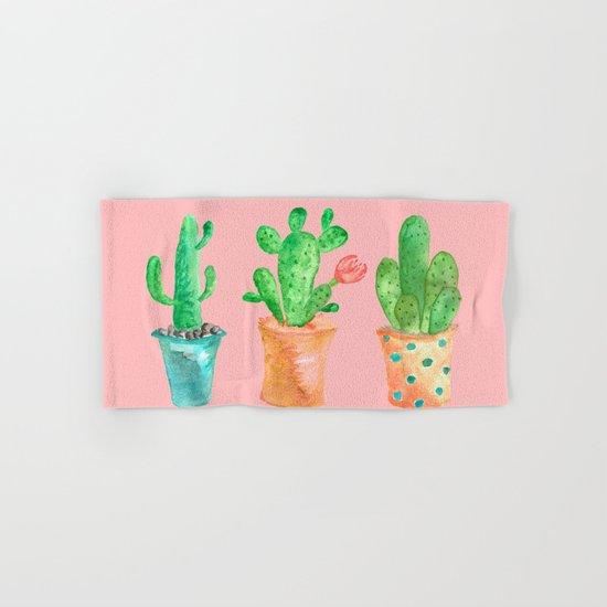 Three Green Cacti On Pink Background Hand & Bath Towel
