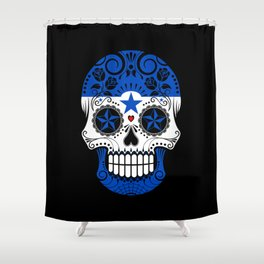 Sugar Skull with Roses and Flag of Honduras Shower Curtain
