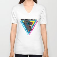 evolution V-neck T-shirts featuring Evolution by Full Imaginario